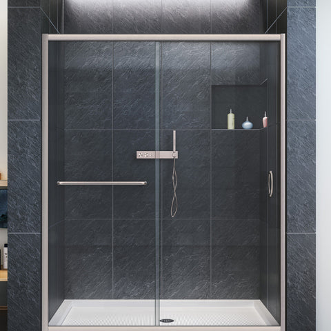 "DreamLine SHDR-0960720-04 Infinity-Z 56 to 60"" Sliding Shower Door, Clear 1/4"" Glass, Nickel Finish - Mega Supply Store - 1"