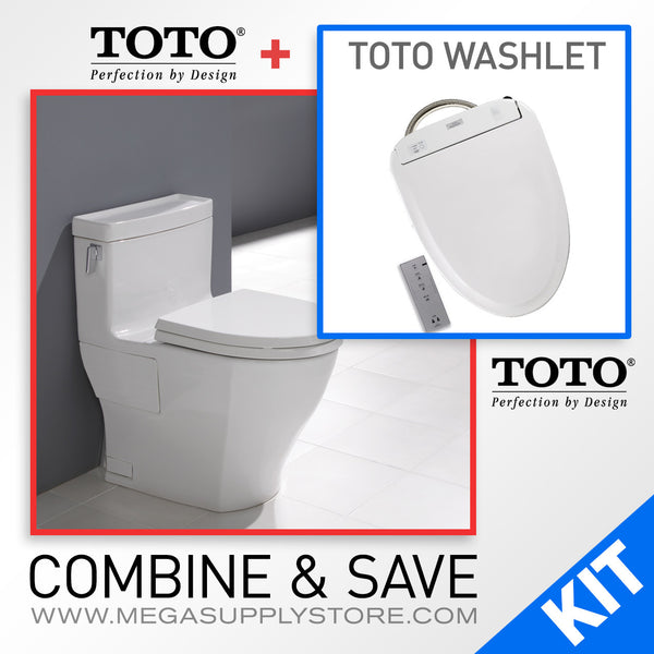 TOTO MS624214CEFG#01 Legato Elongated One-Piece Toilet Combo with a TOTO Washlet - Mega Supply Store - 2