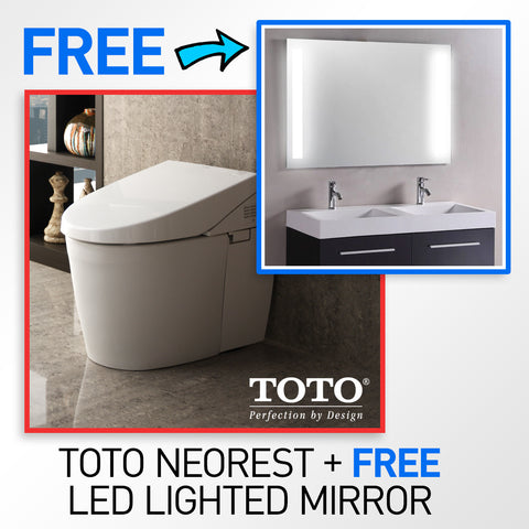 "TOTO MS982CUMG#01 Neorest 550H Toilet & FREE 53 x 42"" LED Backlit/Lighted Bathroom Mirror"