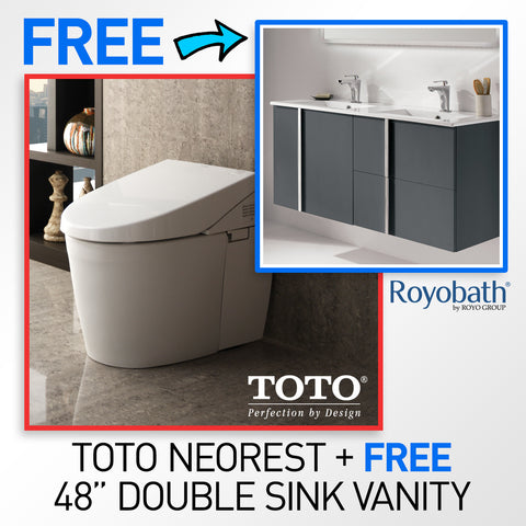 "TOTO MS982CUMG#01 Neorest 550H Toilet & FREE 48"" Royo Wall-Hung Double Sink Bathroom Vanity with Sinks + FREE Faucets!"