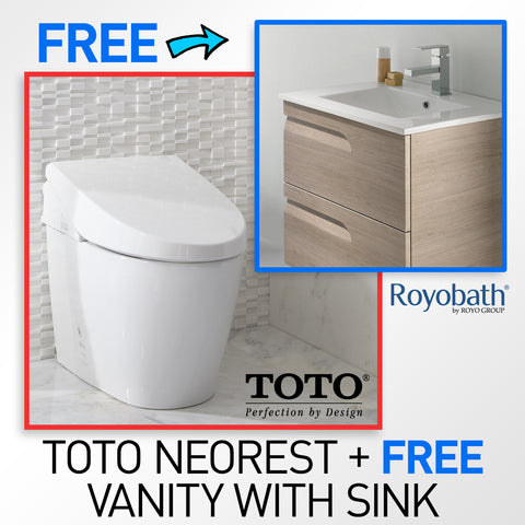 "TOTO MS982CUMG#01 Neorest 550H Toilet with FREE 24"" Royo Vitale Wall-Hung Vanity (Brown) + FREE FAUCET!"