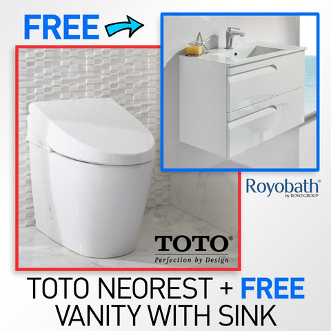 "TOTO MS982CUMG#01 Neorest 550H Toilet with FREE 24"" Royo Vitale Wall-Hung Bathroom Vanity with Sink, White + FREE FAUCET"