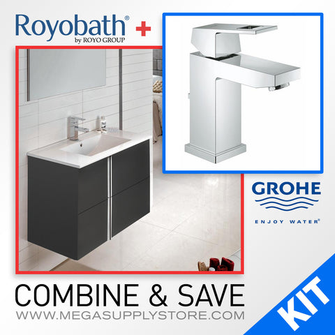 "Royo 32"" Wall-Hung Bathroom Vanity & Grohe 23129000 Eurocube Centerset Bathroom Faucet - Mega Supply Store - 1"