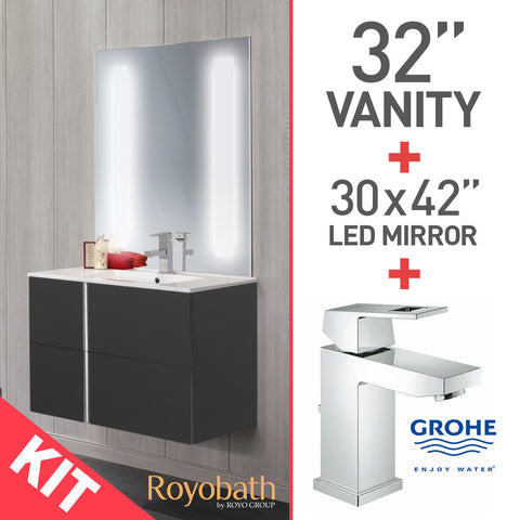 "Royo 32"" Bathroom Vanity with Lighted 30"" LED Mirror and Grohe Eurocube Faucet 23129000 - Mega Supply Store - 1"
