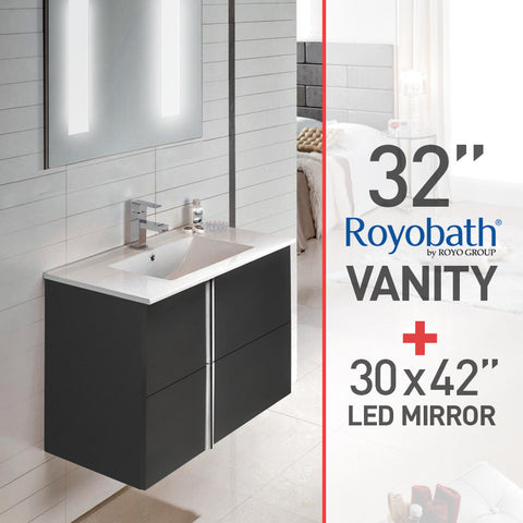 "Royo 32"" Dark Gray European Vanity (Wall-Hung) & LED Lighted Electric Mirror (30 x 42"") - Mega Supply Store - 1"