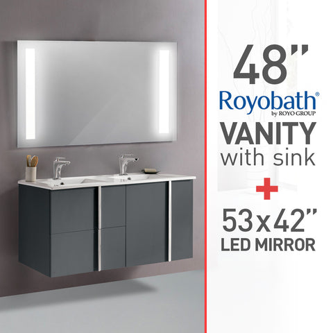 Royo 48 quot  Bathroom Vanity  double sink   amp  LED Lighted Electric Mirror 53 quot. Bathroom Packages   Mega Supply Store