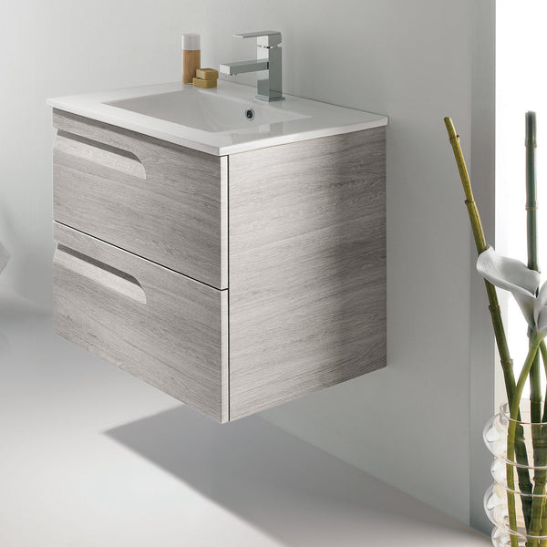 "Royo Vitale Vanity: Wall-Hung Cabinet and Sink 24"" Sandy Gray - Mega Supply Store - 1"