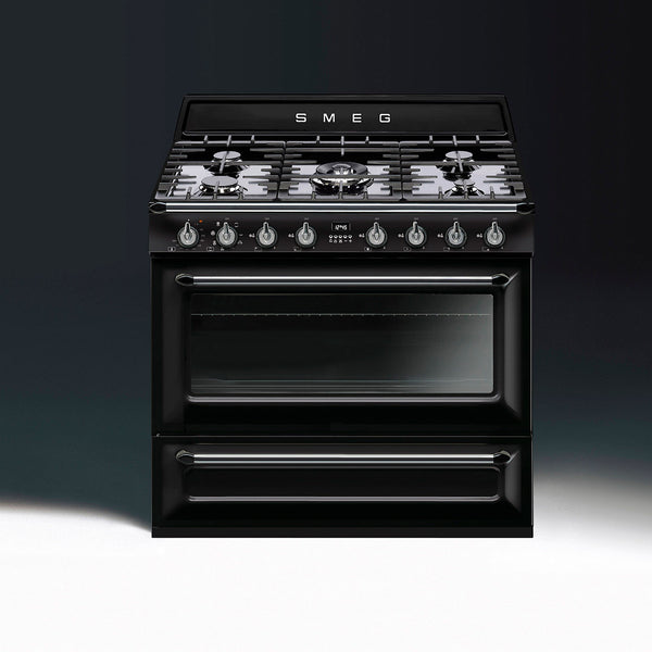 "Smeg TRU90BL 36"" Victoria Dual-Fuel Range with 5 Burners Glossy Black Enamel - Mega Supply Store - 1"