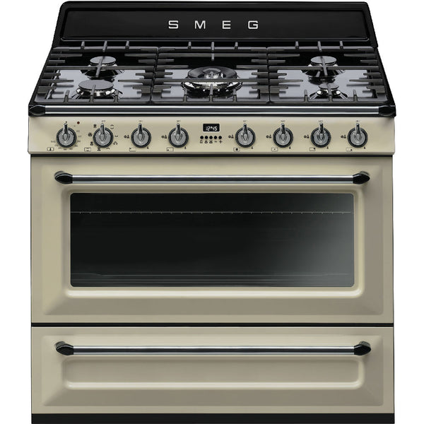 "Smeg TRU90P 36"" Victoria Dual-Fuel Range with 5 Burners Glossy Cream Enamel - Mega Supply Store - 1"