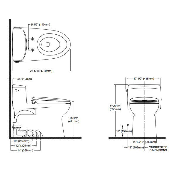 elongated bowl toilet dimensions.  TOTO MS644114CEFG 01 Carolina II One Piece Toilet 1 28 GPF Elongated Bowl Mega