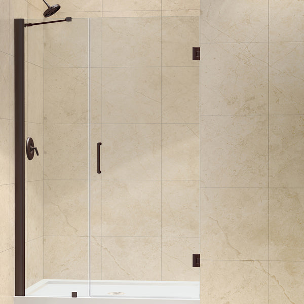 "DreamLine SHDR-20467210-06 Unidoor 46 to 47"" Frameless Shower Door, Clear 3/8"" Glass, Oil Rubbed Bronze Finish - Mega Supply Store - 1"
