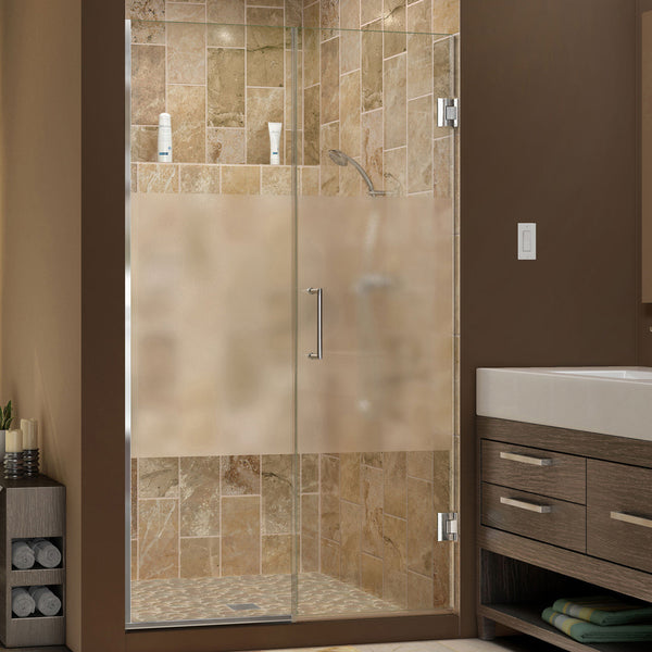 DreamLine SHDR-244057210-HFR-01 Unidoor Plus 40-1/2 to 41 in. W x 72 in. H Shower Door, Half Frosted Glass, Chrome Finish Hardware - Mega Supply Store - 1