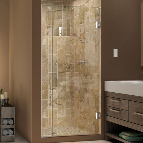 DreamLine SHDR-243407210-04 Unidoor Plus 34 to 34-1/2 in. W x 72 in. H Shower Door, Nickel Finish Hardware - Mega Supply Store - 1