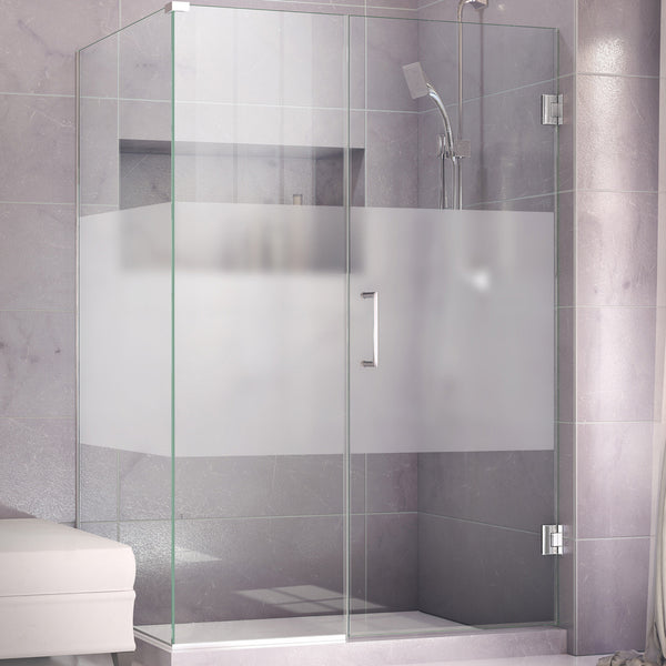 DreamLine SHEN-24600340-HFR-01 Unidoor Plus 60 in. W x 34-3/8 in. D x 72 in. H Shower Enclosure, Half Frosted Glass, Chrome Finish Hardware - Mega Supply Store - 1