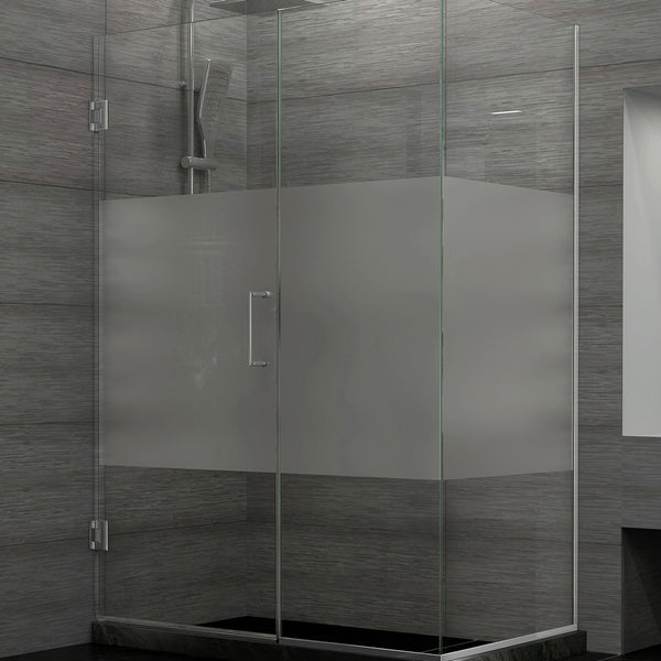 DreamLine SHEN-24570340-HFR-04 Unidoor Plus 57 in. W x 34-3/8 in. D x 72 in. H Shower Enclosure, Half Frosted Glass, Nickel Finish Hardware - Mega Supply Store - 1