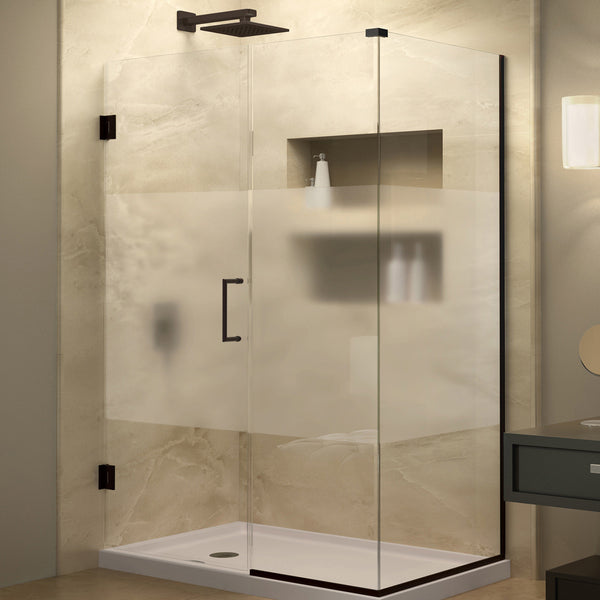 DreamLine SHEN-24470340-HFR-06 Unidoor Plus 47 in. W x 34-3/8 in. D x 72 in. H Shower Enclosure, Half Frosted Glass, Bronze Hardware - Mega Supply Store - 1