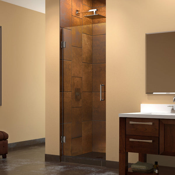 "DreamLine SHDR-20247210F-04 Unidoor 24"" Frameless Shower Door, Clear 3/8"" Glass, Nickel Finish - Mega Supply Store - 1"