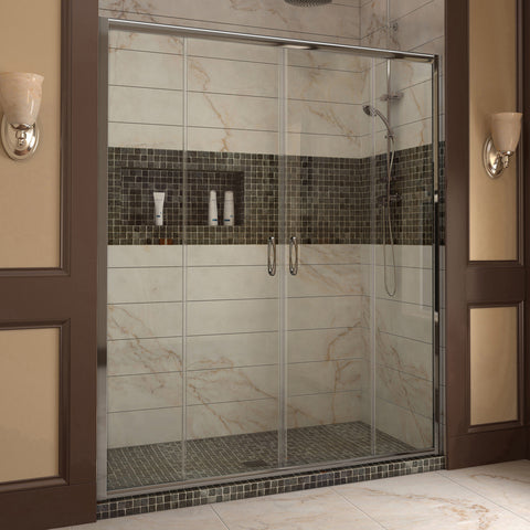 "DreamLine SHDR-1160726-01 Visions 56 to 60"" Sliding Shower Door, Clear 1/4"" Glass, Chrome Finish - Mega Supply Store - 1"