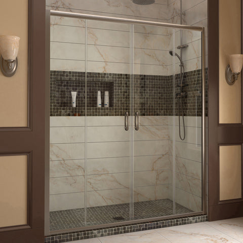 "DreamLine SHDR-1160726-04 Visions 56 to 60"" Sliding Shower Door, Clear 1/4"" Glass, Nickel Finish - Mega Supply Store - 1"