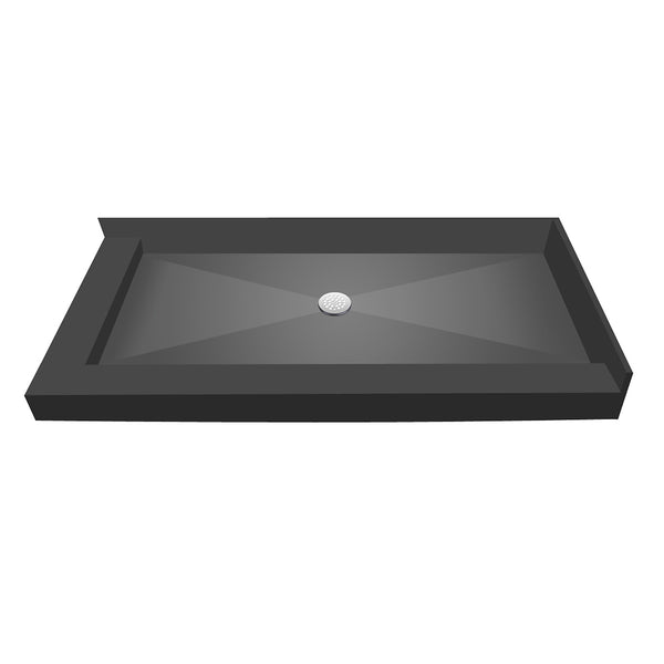 "Tile Redi 3772CDL-PVC 37"" x 72"" Integrated Center PVC Drain Shower Pan/Tray with Left Dual Curb - Mega Supply Store"