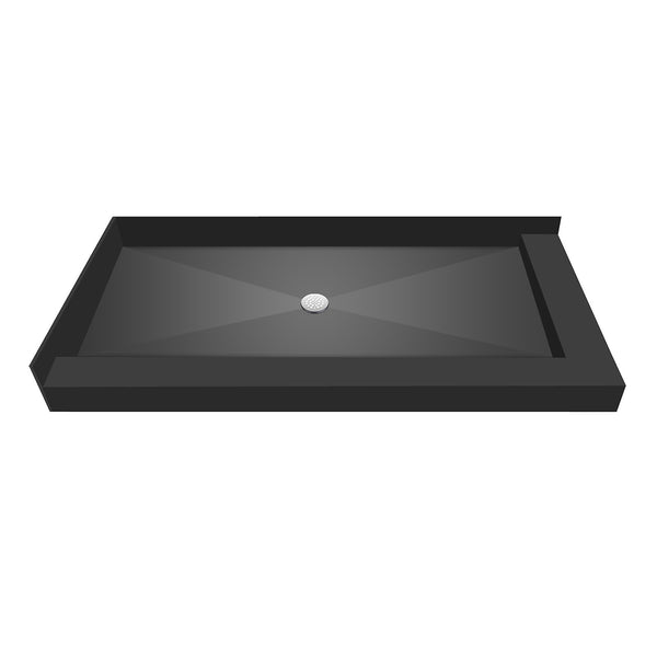 "Tile Redi 4260CDR-PVC 42"" x 60"" Integrated Center PVC Drain Shower Pan/Tray with Right Dual Curb - Mega Supply Store"