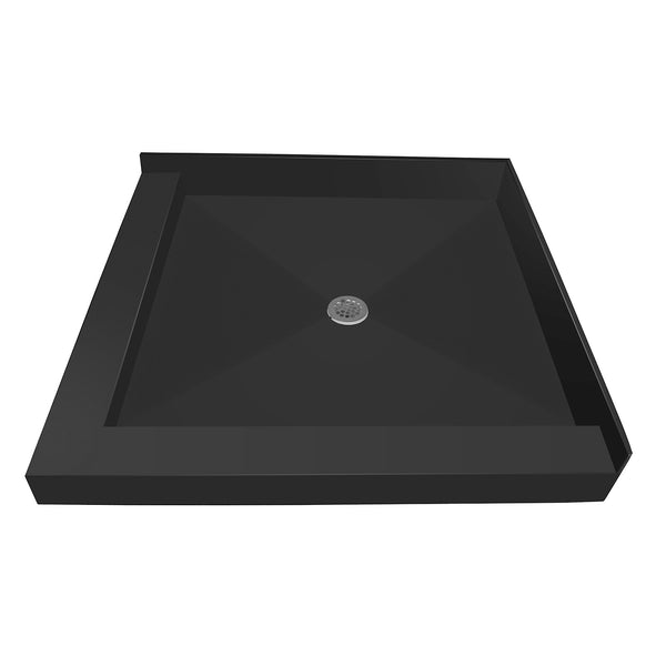 "Tile Redi 4242CDL-PVC 42"" x 42"" Integrated Center PVC Drain Shower Pan/Tray with Left Dual Curb - Mega Supply Store"