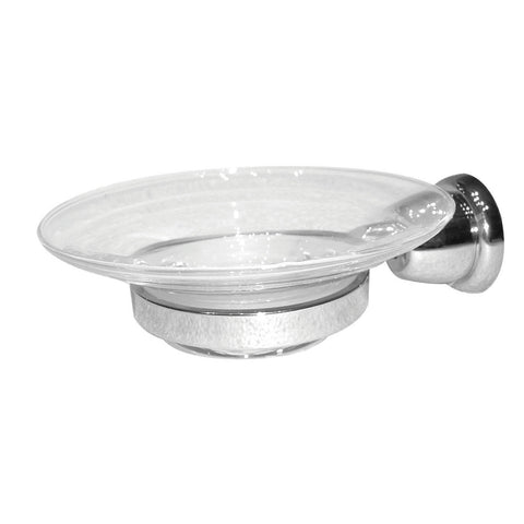 Artos C-04BN Cantori Clear Glass Soap Dish and Holder in Brushed Nickel - Mega Supply Store