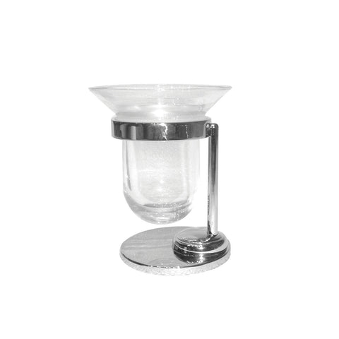 Artos C-13BN Cantori Free Standing Clear Glass Tumbler & Holder in Brushed Nickel - Mega Supply Store