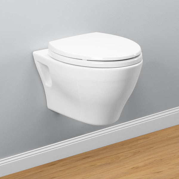 TOTO CT418F#01 Aquia Wall-Hung Dual-Flush Toilet | Cotton/White - Mega Supply Store