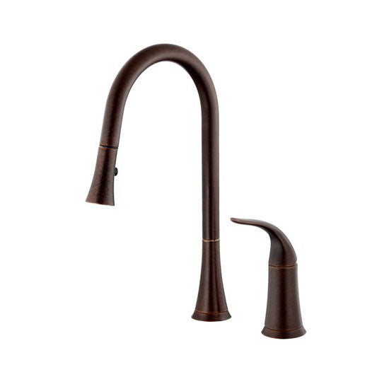 Danze D459022BR Tumbled Bronze Antioch Pullout Spray Kitchen Faucet With  SnapBack Technology