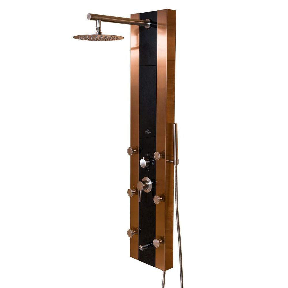 PULSE 1049B-BN Rio 6-Jet Shower System with Black Glass in Bronze ...