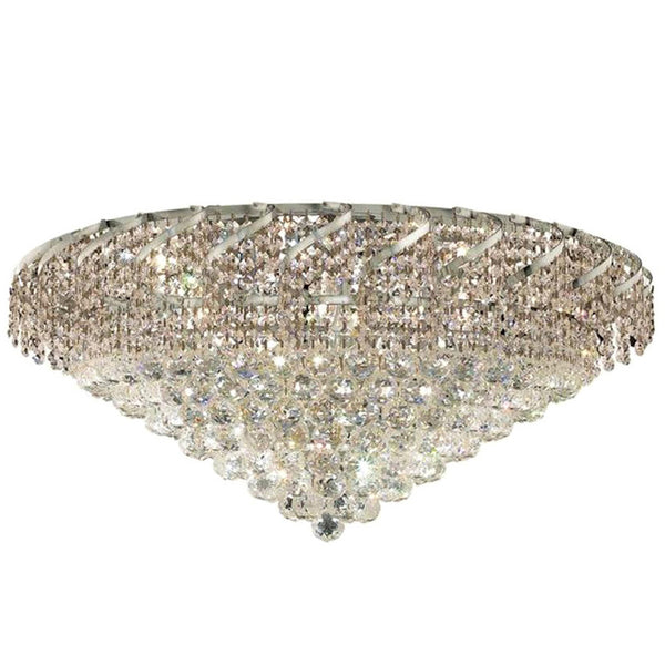 "Elegant Lighting ECA1F30C/SA Belenus Collection Flush Mount Light Fixture D30"" x H16"" Chrome Finish (Swarovski Spectra Crystals) - Mega Supply Store"