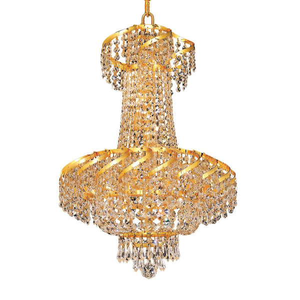 "Elegant Lighting ECA2D18G/SS Belenus Collection Dining Room Hanging Fixture D18"" x H22"" Gold Finish (Swarovski Strass/Elements Crystals) - Mega Supply Store"