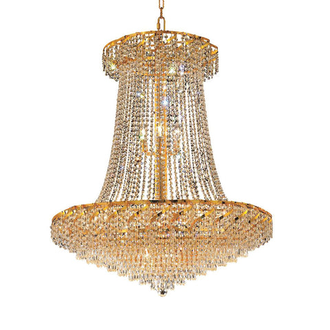 "Elegant Lighting ECA4G36SG/SA Belenus Collection Foyer/Hallway Large Hanging Fixture D42"" x H66"" Gold Finish (Swarovski Spectra Crystals) - Mega Supply Store"