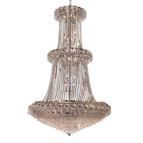 "Elegant Lighting ECA4G42C/EC Belenus Collection Foyer/Hallway Large Hanging Fixture D42"" x H66"" Chrome Finish (Elegant Cut Crystals) - Mega Supply Store"