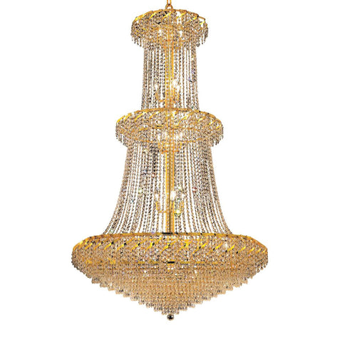 "Elegant Lighting ECA4G42G/EC Belenus Collection Foyer/Hallway Large Hanging Fixture D42"" x H66"" Gold Finish (Elegant Cut Crystals) - Mega Supply Store"