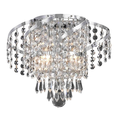 "Elegant Lighting ECA4W12C/SS Belenus Collection Wall Sconce W12"" x H8"" x E9"" Chrome Finish (Swarovski Strass/Elements Crystals) - Mega Supply Store"