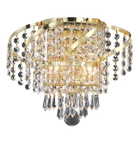 "Elegant Lighting ECA4W12G/EC Belenus Collection Wall Sconce W12"" x H8"" x E9"" Gold Finish (Elegant Cut Crystals) - Mega Supply Store"