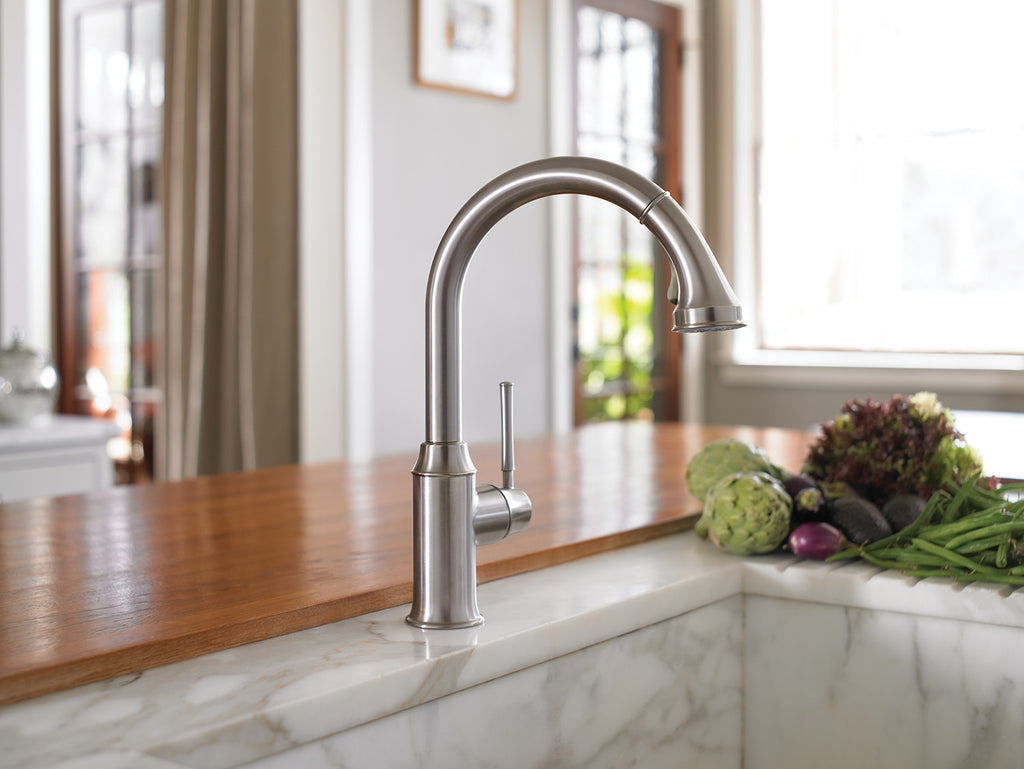 ... Hansgrohe 04215830 Polished Nickel Talis C Pull Down Kitchen Faucet  With High Arc Spout ...