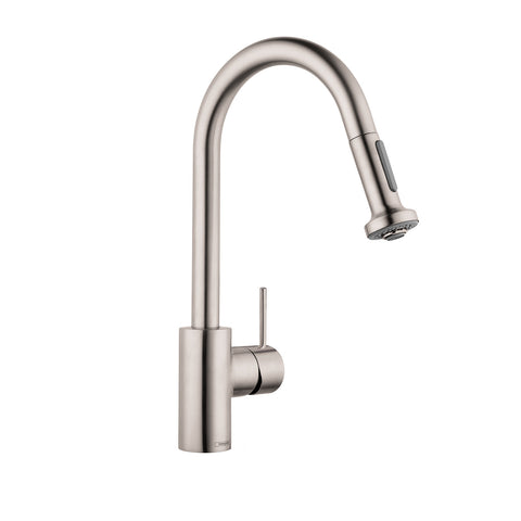 Hansgrohe 06801861 steel Optik Talis S Variarc Pull-Down Spray Kitchen Faucet, Single Handle, Single Hole with Swivel Spout and Non Locking Spray Includes Limited Lifetime Warranty - Mega Supply Store