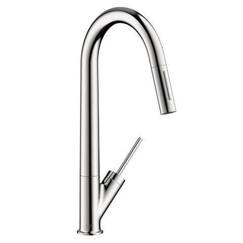 Hansgrohe Axor 10821001 Chrome Starck Pull-Down Kitchen Faucet with High-Arc Spout, Magnetic Docking & Toggle Spray Diverter - Mega Supply Store - 1