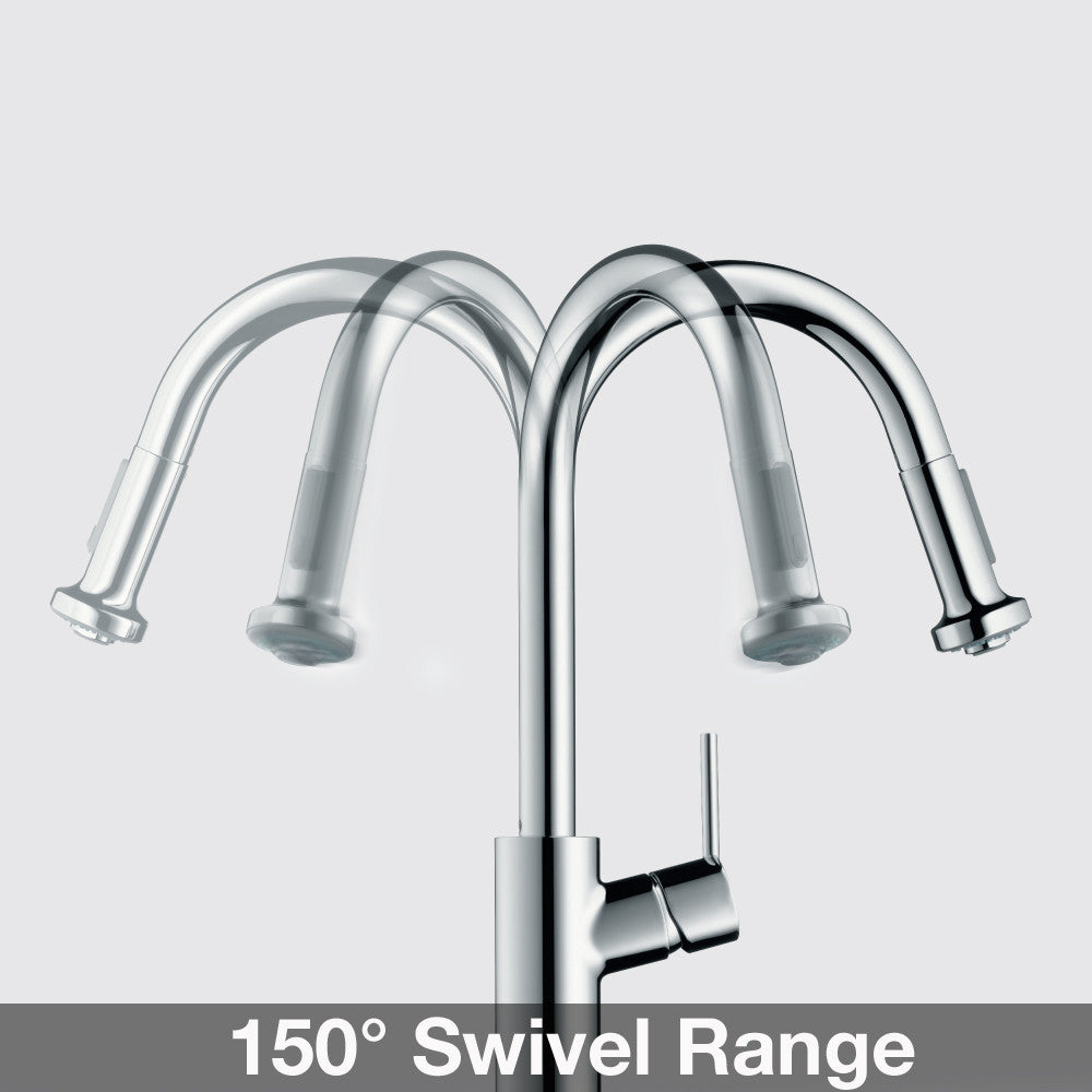 hansgrohe chrome talis s pulldown kitchen faucet with higharc spout
