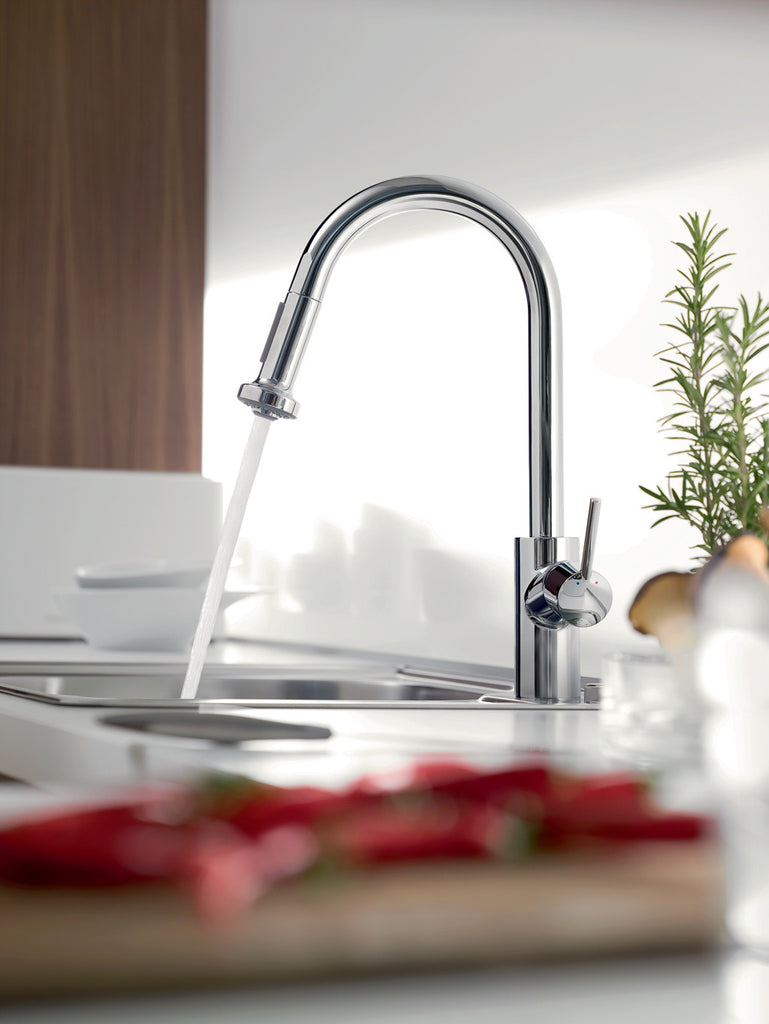 hansgrohe 14877001 chrome talis s pull down kitchen faucet mega hansgrohe 14877001 chrome talis s pull down kitchen faucet with high arc spout