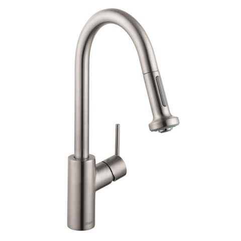 Hansgrohe 14877801 steel Optik Talis S Pull-Down Kitchen Faucet with High-Arc Spout, Magnetic Docking, Non-Locking Spray Diverter - Mega Supply Store - 1