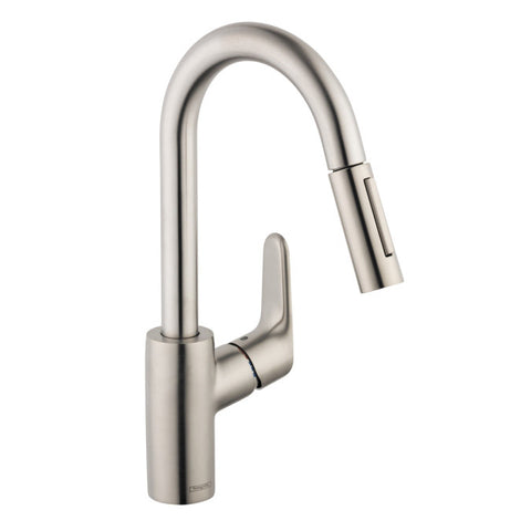 Hansgrohe 31815801 Steel Optik Focus Pullout Spray High Arc Kitchen Faucet with Magnetic Docking and Toggle Spray Diverter - Mega Supply Store