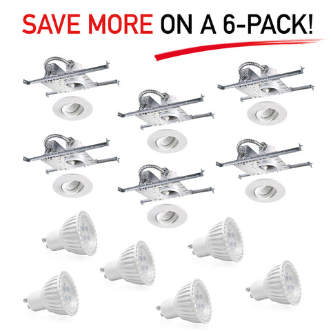 "Pack of 6: Recessed 3"" Round High Hat LED Lighting Fixture - New Construction Housing with Adjustable Trim & Bulb - Mega Supply Store - 1"