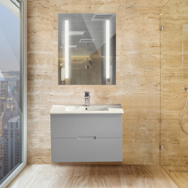 "32"" Gray Sasha Bathroom Vanity Set with Sink + 30x42"" LED Lighted Mirror + Grohe 23129000 Eurocube Faucet + FREE Grohe Robe Hook"