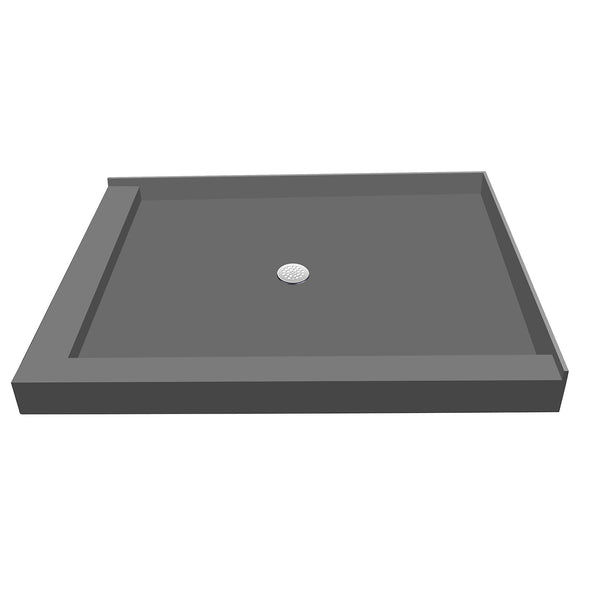 "Tile Redi P3042CDL-PVC 30"" x 42"" Integrated Center PVC Drain Shower Pan/Tray with Left Dual Curb - Mega Supply Store"