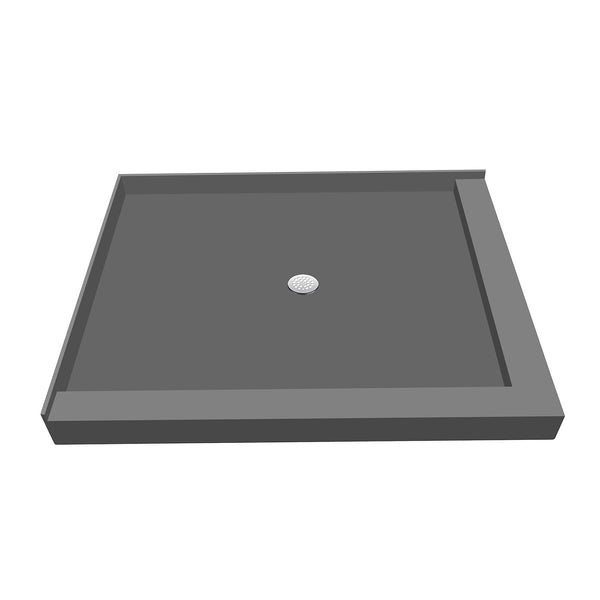 "Tile Redi P3048CDR-PVC 30"" x 48"" Integrated Center PVC Drain Shower Pan/Tray with Right Dual Curb - Mega Supply Store"