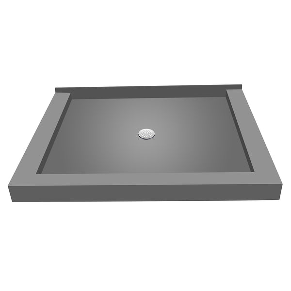 "Tile Redi P3642CDT-PVC 36"" x 42"" Integrated Center PVC Drain Shower Pan/Tray with Triple Curb - Mega Supply Store"